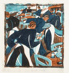 Lill Tschudi - Waiters, linocut printed in colours, Australian Artists, American Artists, Russian Art, Japanese Artists, Linocut Prints, Art Google, Wood Print, Printmaking, Auction