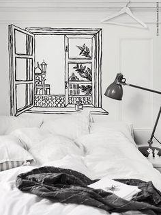 Om man kan själv, eller känner någon som ritar bra, så tveka inte att göra något överraskande i ditt hem. Att använda humorn och måla ett vackert motiv direkt på väggen eller i taket när man inreder ger hemmet en extra dimension.