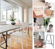DIY dining table. Looks easy and much cheaper than buying a new one. We're definitely doing this.