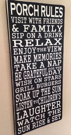 Porch Rules Sign. Subway Art, Typography. Hand Painted Wood Sign. Porch,  Deck, Patio, Back Yard