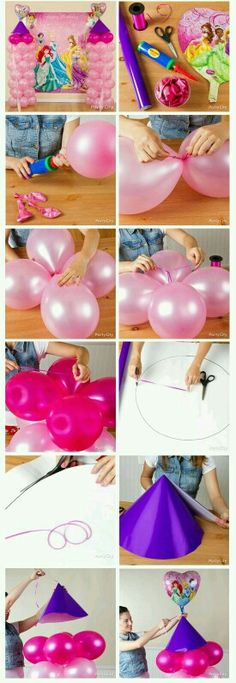 How to make a princess balloon castle for birthday tutorial. G;)