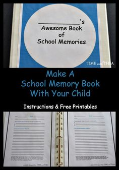 Make A School Memory Book With Your Child ~ It is simple and fun to create a memory book with your child capturing the awesome moments beginning with the first day of school, at the end of each month and finishing it on the last day of school! Instructions and printables are included to help you organize this great idea for keeping school memories in your child's life.