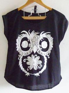 Owl shirt women size S vintage flower art bird by CuteClassic
