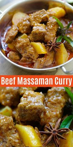 Thai Massaman curry with tender beef, potatoes in a rich and creamy curry sauce. This recipe is so easy, authentic and tastes better than Thai restaurants Thai Massaman Curry, Thai Beef Curry, Spicy Beef Curry Recipe, Beef Curry Indian, Thai Curry Recipes, Recipe For Massaman Curry, Chinese Beef Curry, Curry Sauce Recipe Indian, Gourmet