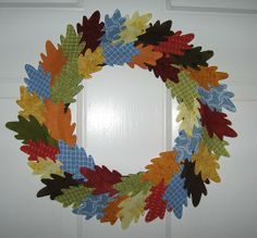 Fabric leaf wreath -- fall harvest & Thanksgiving, Craftster.org