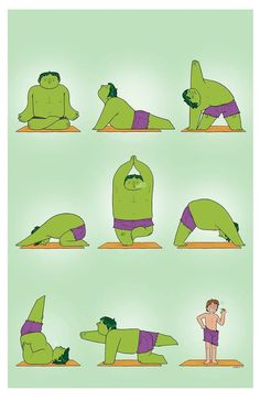 After Tony's question of how he kept calm in Avengers, Bruce and Hulk decided to give yoga a try. ;) @Kaylen Boomer vandergon