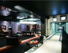 Game room with your own bowling lane.  Really??