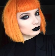 Makeup is modern day war paint. Show the world your unfuckwithable attitude and dark heart with the perfect black lipstick. Short Choppy Hair, Short Hair Styles, Hair Inspo, Hair Inspiration, Flame Hair, Beautiful Hair Color, Beautiful Eyes, Edgy Haircuts, Rock Hairstyles