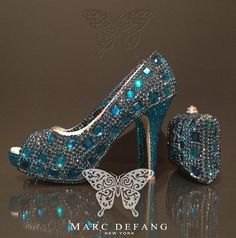 Peacock blue crystal snow diamond Luxury shoes and purse by MDNY, $349.00