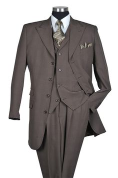 $168.90 Mens Brown With Check 3pc Suit Sizes: 38R - 60R, 38L - 60L