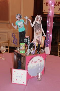 Music Themed Centerpiece Music Themed Photo Cube Centerpiece for Everything Girl Bat Mitzvah