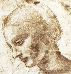 32. Study of a Woman, c. 1490, chalk and ink