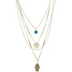 Kwanli Amazonite & Rose Quartz Hamsa Trio Pendant Necklace ($50) ❤ liked on Polyvore featuring jewelry, necklaces, pendant chain necklace, chain pendants, blue necklace, pendant necklace and rose quartz necklace