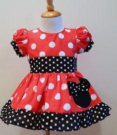 Hecho a mano de las chicas Boutique personalizado Minnie Mouse vestido rojo Puff Sleves 12M a 6Y