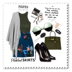 """""""Pleated Ootd"""" by andreaj247 ❤ liked on Polyvore featuring Topshop, Proenza Schouler, Joseph, Revo, Borghese, Hermès, New Look, Kendra Scott, Bling Jewelry and pleatedskirts"""
