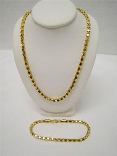 """GOLD OVER 925 STERLING SILVER 18"""" CHAIN NECKLACE 7"""" BRACELET MATCHING SET  ITALY #ITAOR #Chain"""