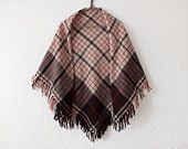 Vintage Hand Woven Wool Shawl with hand knotted fringe - Triangle woolen shawl - Wool scarf checkered