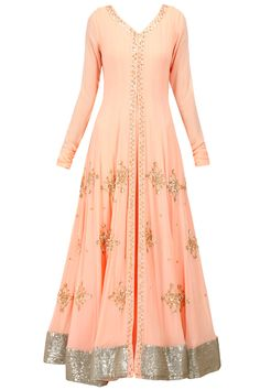Prathyusha Garimella presents Peach sequin motifs jacket with inner gown available only at Pernia's Pop-Up Shop. Indian Attire, Indian Wear, Pakistani Outfits, Indian Outfits, India Fashion, Asian Fashion, Salwar Kameez, Churidar, Desi Clothes