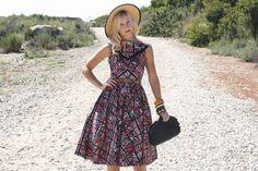 VTG 1950s 50s Black and Pink Geometric Print Dress w/ Full Skirt S. $189.00, via Etsy.  #Vintage #1950s #VintageDress #Dress #Whendecadescollide