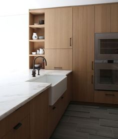 Henrybuilt - walnut, open shelving, marble countertop