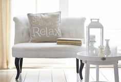 Summer Home Decor Trend 2014: Riverdale Crazy Cocktail! #Riverdale Pillows, Sidetable and Candles, in White  Ecru - Country Lifestyle!