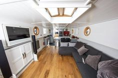With one-bedroom flats in London costing as much as 1 million buying property Barge Interior, Boat Interior, One Bedroom Flat, Two Bedroom, Luxury Houseboats, Houseboat Living, Tiny House Movement, Rustic Design, What Is Like