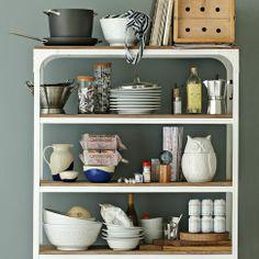 wood + metal shelves for kitchen | @elise West elm