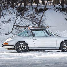 Porsche 911 targa with skis #silver tomnora.com