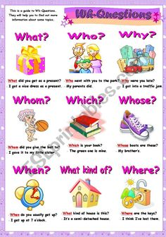 "The ""Wh"" Questions, EDUCATİON, Simple questions can help lead your interview subjects to adding more details to their answers. English Grammar For Kids, Learning English For Kids, Teaching English Grammar, English Grammar Worksheets, English Lessons For Kids, Kids English, Learn English Words, English Language Learning, Learning Italian"