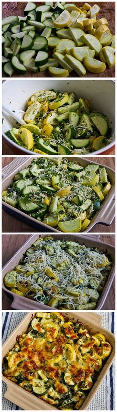 Low-carb alternative to pasta bake: Recipe for Easy Cheesy Zucchini Bake by kathy (paleo side dishes low carb) Side Dish Recipes, Vegetable Recipes, Low Carb Recipes, Yummy Recipes, Vegetarian Recipes, Cooking Recipes, Healthy Recipes, Gout Recipes, Vegetables