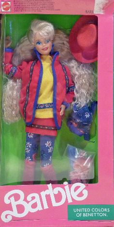 Never removed from box - box has light shelf wear - very colorful clothing! - vintage barbie doll from 1990 Barbie 1990, Barbie Toys, Barbie Skipper, Vintage Barbie Dolls, Barbie And Ken, Childhood Toys, Childhood Memories, 80 Toys, Barbie Benetton