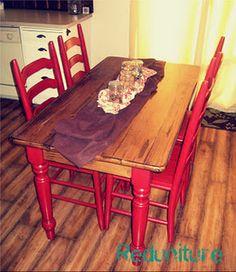 Farmhouse style kitchen table by Reduniture.