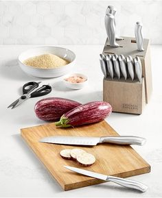 Chop, slice, and dice like a pro with the Chicago Cutlery Insignia set. Pieces feature forged designs, full tangs and high-carbon stainless steel blades and store safely in the natural wood block. Knife Block Set, Stainless Steel Cutlery, Chicago Shopping, Steak Knives, Cutlery Set, Wood Blocks, Kitchen Knives, Kitchenware, Cool Kitchens