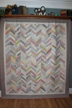 Chevron Quilt, low volume and modern, good for scraps