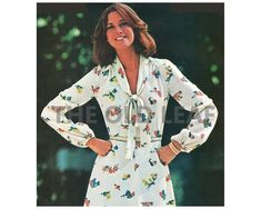 Sewing Pattern for 80s Dress with Tie V Neck, See Sew Butterick 5766 #70sFashion #80sFashion #SeeSewPatterns #EasySewingProjects #Dressmaking #FallFashion #PlusSizeSewing #ShawlCollarDress