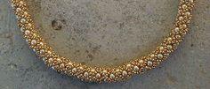 Necklace, handmade, gold glass Preciosa Ornela Czech seed beads and gold Czech pearl beads (216).