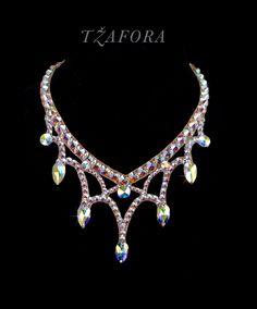 """Passion Flower"" - Swarovski ballroom necklace. Ballroom jewelry, ballroom accessories. www.tzafora.com Copyright © Tzafora"