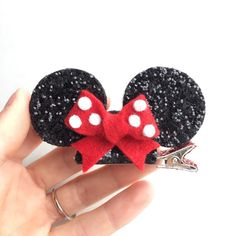 Miniature Minnie Mouse ears hair clip or headband by Kichiqueen