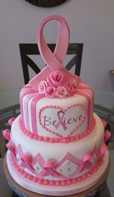 Breast Cancer Believe By albie333 on CakeCentral.com --- would love to have a cake like this one for colon cancer