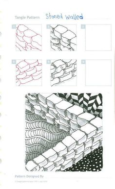 stone walled #zentangle #zentangles. Oh I like this one, nice & simple. You can use this for lts of other things besides Zentangle or Doodle art too ;)