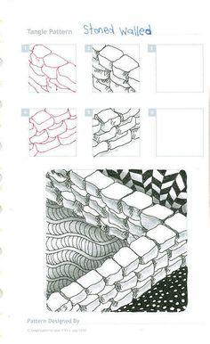 Stoned Walled -Step by Step Zentangle Pattern Zentangle Drawings, Doodles Zentangles, Doodle Drawings, Tangle Doodle, Zen Doodle, Doodle Art, Doodle Images, Zantangle Art, Zen Art