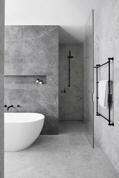 bathroom Ideas for a Minimalist Bathroom Design– Are you and your bathroom the right candidates for a sleek minimalist setting?Ideas for a Minimalist Bathroom Design– Are you and your bathroom the right candidates for a sleek minimalist setting? Grey Bathrooms Designs, Modern Bathroom Design, Contemporary Bathrooms, Bathroom Interior Design, Modern Contemporary, Bath Design, Grey Interior Design, Condo Interior, Modern Design