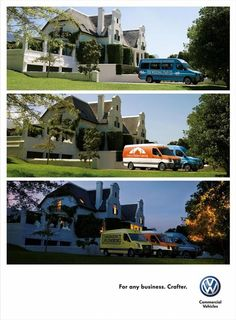 """Volkswagen's newspaper advertising campaign for the VW Crafter, """"For Any Business"""", has won a Gold at the Loerie Awards held in Cape Town, South Africa. Three print advertisements, Wedding, Forest and Suburbs, each show three shots of the location, each with the addition of a new VW Crafter fitted out for business. The Wedding ad shows The Wedding Staff Co, Curry Palace Catering and Emergency Plumbing. The Suburbs ad shows Pablo the Pool Boy, Cheater TV and an ambulance!"""