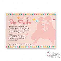 Pink Classy Tea Party Themed Single Sided Personalised Birthday Invitations - From as little as per card - Including free envelopes and delivery on all orders! Days Of The Year, Personalized Invitations, Thing 1 Thing 2, Envelopes, Birthday Invitations, Tea Party, Delivery, Classy, Cards