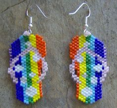 Summer Time Rainbow Flip Flop Earrings Hand Made Seed by wolflady, $25.00
