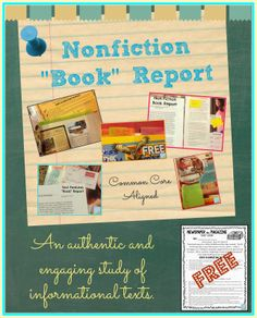"""Non-Fiction Newspaper or Magazine """"Book"""" Report. Covers several Common Core Standards! Free assignment sheet included."""