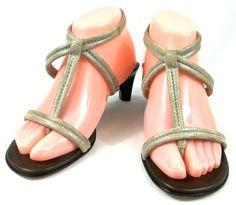Donald J Pliner Shoes Womens Size 7 M Beige / Silver Fleck Fabric Strappy Heels #DonaldJPliner #Strappy #everyday