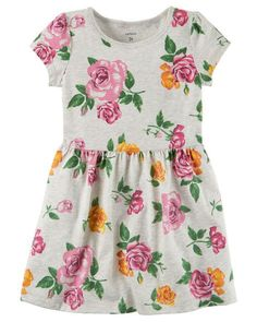 Kid Girl Floral Jersey Dress from Carters.com. Shop clothing & accessories from a trusted name in kids, toddlers, and baby clothes. https://presentbaby.com