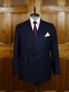 2007 Anderson & Sheppard Savile Row Bespoke Navy Blue Wool & Cashmere Blazer