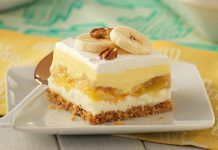 "White Chocolate-Banana Split ""Cake"" ~ chilled dessert with pineapple over a graham cracker crumb crust Banana Split Cake Recipe, Banana Split Dessert, Dessert Parfait, Bon Dessert, Fruit Dessert, Banana Dessert Recipes, Cake Recipes, Casserole Recipes, Biscuits Graham"